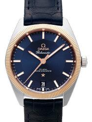 Omega Constellation Globemaster Chronometer 39 mm Herrenuhr Stahl Roségold Zifferblatt blau