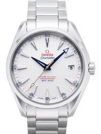 Omega Seamaster Aqua Terra Chronometer Herrenuhr Stahl Zeiger blau