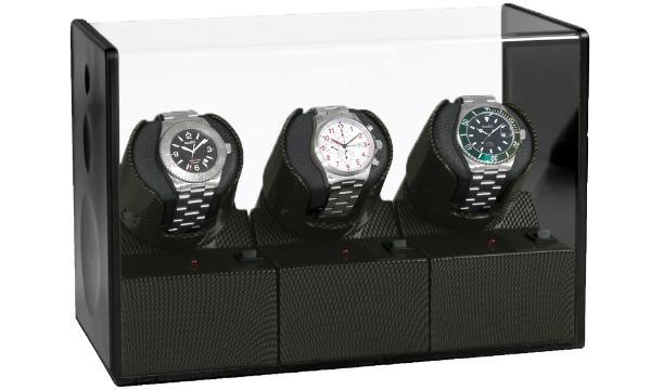 Beco Uhrenbeweger Satin Carbon 3 Uhrenbeweger für drei Automatikuhren