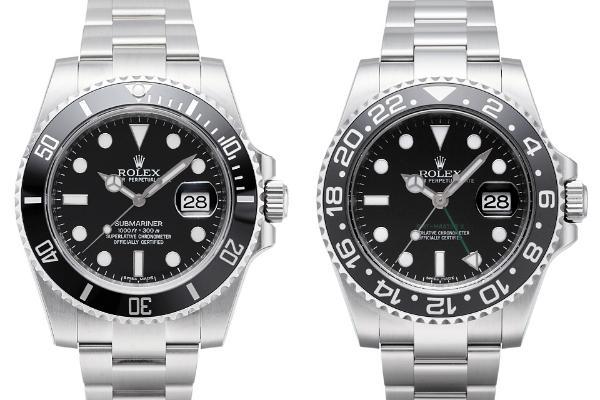 Rolex Submariner und Rolex GMT-Master II Zifferblatt schwarz