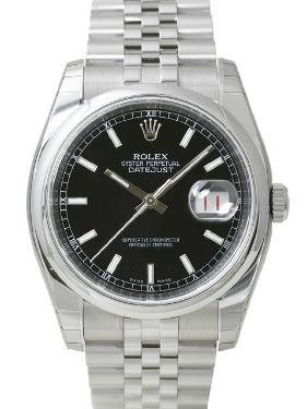Rolex Datejust 36 mit Datumsanzeige und schwarzem Zifferblatt