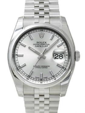 Rolex Datejust 36 mit Datumsanzeige und silbernem Zifferblatt