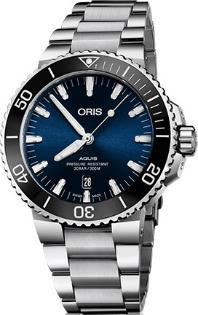 Oris Aquis Date Automatik Band Stahl Zifferblatt blau
