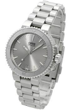 Oris Aquis Date Damenuhr mit Armband aus Stahl 36mm Silber