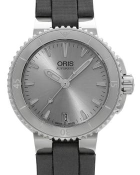 Oris Aquis Date Herrenuhr mit Armband aus Textil 36mm Silber