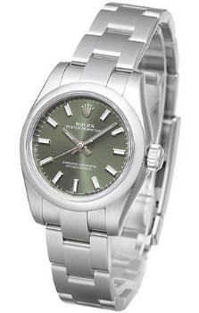 Rolex Oyster Perpetual 26mm Damenuhr mit gruenem Zifferblatt