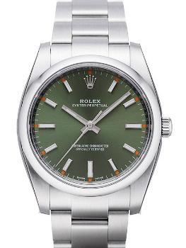 Rolex Oyster Perpetual 34mm Herrenuhr mit gruenem Zifferblatt
