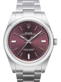 Rolex Oyster Perpetual 39mm Referenz 114300 Red Grape Zifferblatt