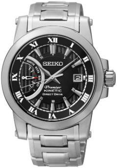 Seiko Premier Kinetic Direct Drive Zifferblatt schwarz
