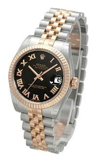 Rolex Datejust 31 mit schwarzem Zifferblatt fuer Damen