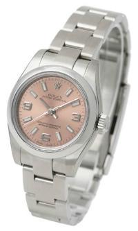 Rolex Oyster Perpetual 26 mit rosefarbenem Zifferblatt fuer Damen