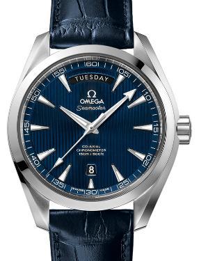 Omega Aqua Terra 150 M Day-Date Zifferblatt blau Band Leder