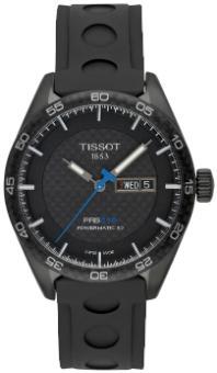 Tissot T-Sport PRS 516 Automatic mit schwarzem Zifferblatt und Kautschukband