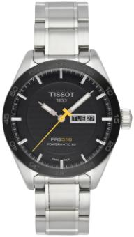 Tissot T-Sport PRS 516 Automatic mit schwarzem Zifferblatt und Stahlband