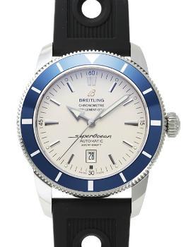 Breitling Superocean Heritage 46 Herrenuhr Kautschuk silber blau