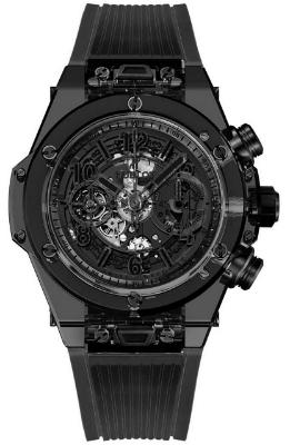 Hublot Big Bang Unico All Black Sapphire 45mm Automatic Chronograph Limited Edition in der Version 411JB4901RT aus poliertem rauchfarbenem Saphirglas