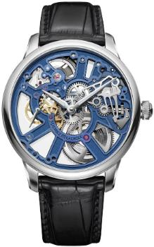 Maurice Lacroix Masterpiece Squelette New Design Herrenuhr Krokodilleder transparent blau