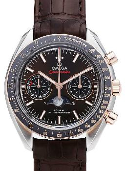 Omega Speedmaster Moonwatch Moonphase Chronograph 44,25mm Herrenuhr Leder braun Edelstahl 18kt Rosegold