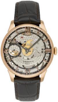 Tissot T-Classic Chemin des Tourelles Squelette Herrenuhr Leder transparent rose beschichtet vergoldet