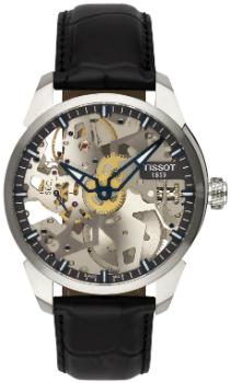 Tissot T-Complication Squelette Herrenuhr Leder transparent