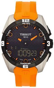 Tissot T-Touch Expert Solar Solaruhr Zifferblatt schwarz Gehaeuse Titan Band Silikon orange