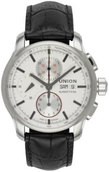 UNION Glashuette Viro Chronograph in der Version D001-414-16-031-00 in Stahl mit schwarzem Lederband