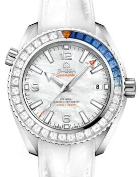 Omega Seamaster Planet Ocean 600 M Co-Axial Master Chronometer 39,5mm Krokodillederband Zifferblatt perlmutt