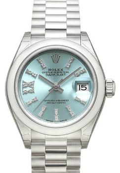 Rolex Lady-Datejust 28 Damenuhr Band Platin 950 Zifferblatt blau