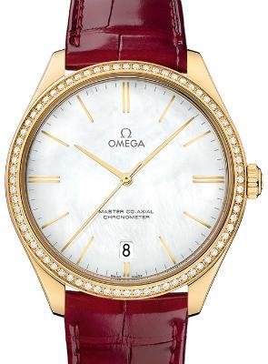 Omega De Ville Tresor Master Co-Axial 40mm Damenuhr Leder perlmutt 18kt Gelbgold