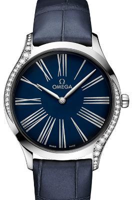 Omega De Ville Tresor Quarz 36mm Damenuhr Leder blau Edelstahl