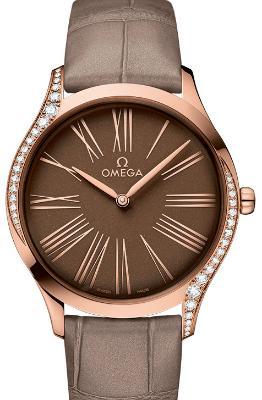 Omega De Ville Tresor Quarz 36mm Damenuhr Leder braun 18kt Rosegold
