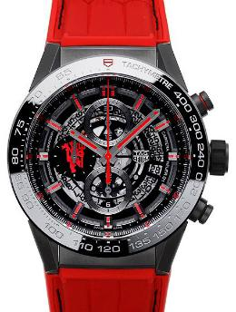 Tag Heuer Carrera Calibre HEUER 01 Automatik Chronograph 45mm Manchster United Special Edition rot