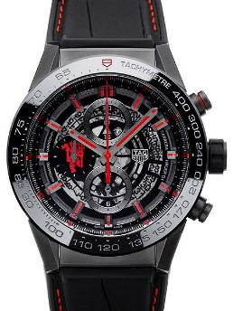 Tag Heuer Carrera Calibre HEUER 01 Automatik Chronograph 45mm Manchster United Special Edition schwarz