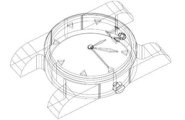 3D-Entwurf einer Uhr
