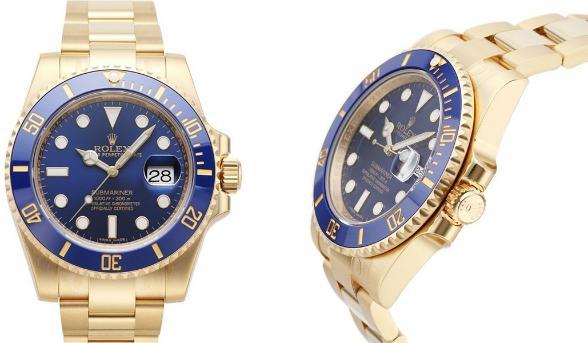 Rolex Oyster Perpetual Submariner Date 18kt Gelbgold Zifferblatt blau