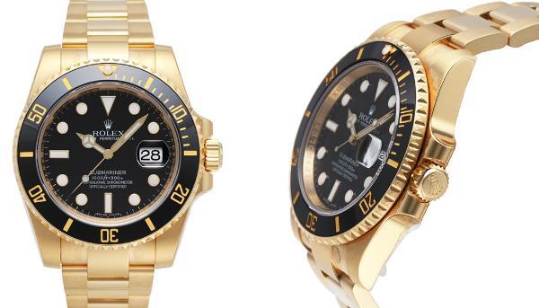 Rolex Oyster Perpetual Submariner Date 18kt Gelbgold Zifferblatt schwarz