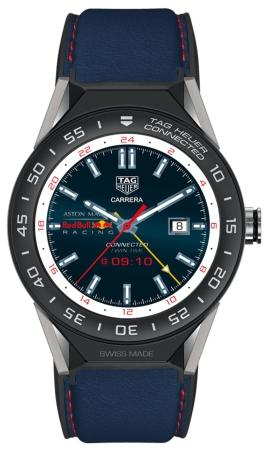 Tag Heuer Connected Modular 45 Aston Martin Red Bull Racing Special Edition in der Version SBF8A8028-11EB0147 aus beschichtetem Titan mit Keramikluenette