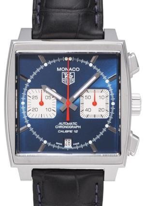 Tag Heuer Monaco Automatik Chronograph Automatikuhr mit blauem Ziffernblatt, Stahlgehaeuse und Krokoband, Faltschliesse, Durchmesser 39,00 x 39,00 mm, wasserdicht bis 100 m, Saphirglas