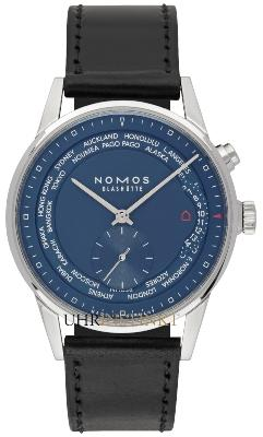 NOMOS Glashuette Zuerich Weltzeit Nachtblau in der Version 807 mit Saphirglasboden