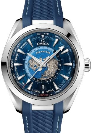 Omega Aqua Terra 150M Co-Axial Master Chronometer GMT Worldtimer 43 mm in der Version 220-12-43-22-03-001
