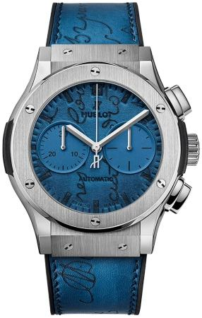Hublot Classic Fusion Berluti Scritto Ocean Blue 45mm Automatic Chronograph Limited Edition in der Version 521-NX-050B-VR-BER18