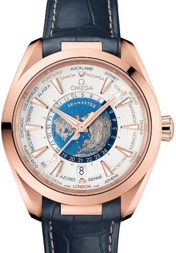 Omega Aqua Terra 150M Co-Axial Master Chronometer GMT Worldtimer 43 mm in der Version 220-53-43-22-02-001