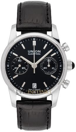 UNION Glashuette Seris in der Version D004-227-16-051-00 in Stahl mit Lederband