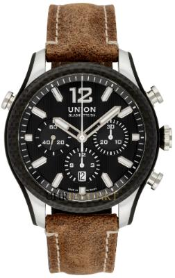 Union Glashuette Belisar Chronograph Sport in der Version D009-927-26-207-00 aus Edelstahl mit Carbon-Luenette