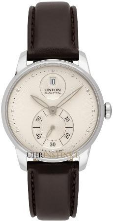 Union Glashuette Seris in der Version D013-228-16-021-00 in Stahl mit braunem Lederband
