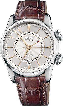 Oris Artelier Alarm in der Version 01 908 7607 4051-Set LS in Edelstahl Armbanduhr mit Wecker