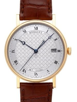 Breguet Classique Automatic in der Version 5177BA-12-9V6 in 18K Gelbgold und braunem Krokodillederband