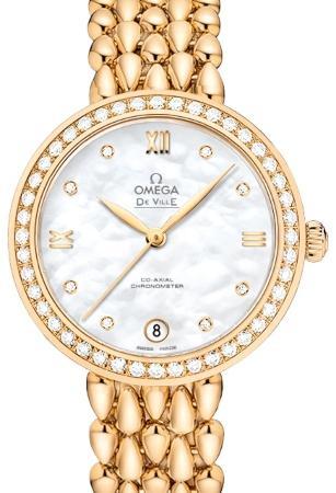 Omega De Ville Prestige Co-Axial in der Version 424-55-33-20-55-009 in 18K Gelbgold mit Diamantbesatz